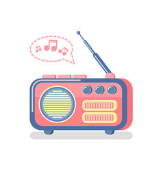 radio and playing music notes and waves icon vector image