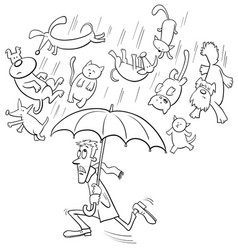 raining cats and dogs cartoon vector image