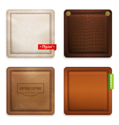 Realistic genuine leather texture set vector