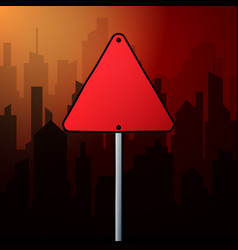 red triangle road sign on a background landscape vector image