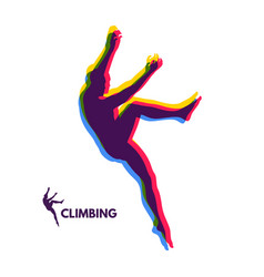 Rock climber silhouettes bouldering sport vector