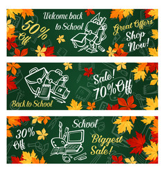 School supplies sale banner with discount offer vector