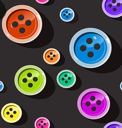 Seamless Buttons Colorful Button Pattern on Dark vector