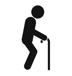 Senior man walking stick icon simple style vector
