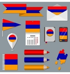 Set of icons with flag elements Armenia vector