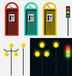 Set of phone booth lamp and traffic light vector image vector image