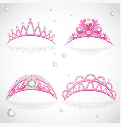 Shining gold tiaras with diamonds and pearls vector