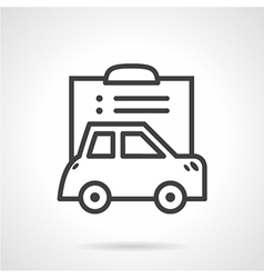Simple line icon for car paperwork vector image