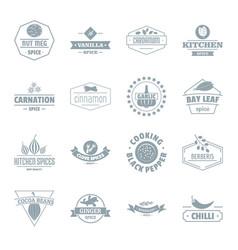 Spice logo icons set simple style vector