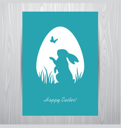 Standing rabbit silhouette in an egg shaped frame vector
