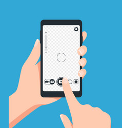 taking photo with smartphone photo screen vector image