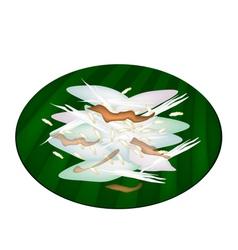Thai Sticky Rice Cake on Green Banana Leaf vector image