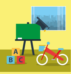 Toys bike blocks alphabet and chalkboard in vector