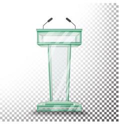 Transparent glass podium tribune rostrum vector
