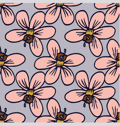 tropical hibiscus seamless pattern repeat vector image