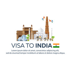 Visa to india travel to india document for vector