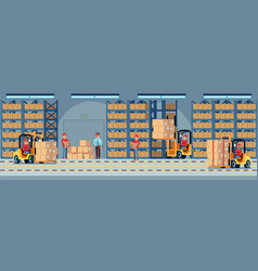 Warehouse interior industrial factory worker vector