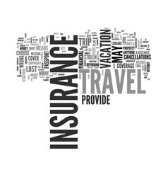 Why buy travel insurance text word cloud concept vector