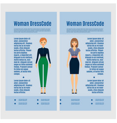 Woman dress code brochure design vector