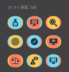 Work icons set with search money compass money vector