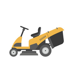 Yellow lawnmower vector