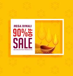 Yellow sale background for diwali season with diya vector