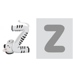 z is for zebra letter z zebra cute vector image