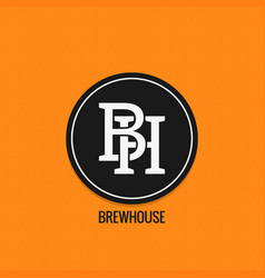 brew house logo design beer label concept b and vector image