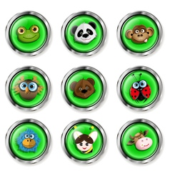 Cartoon animal icons vector image vector image