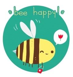 cartoon flat Bee happy postcard vector image