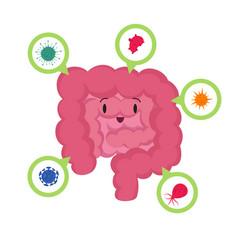 cartoon happy human intestine with good vector image vector image