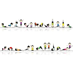 People practicing yoga vector image vector image