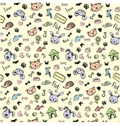 seamless pet pattern hand drawing vector image