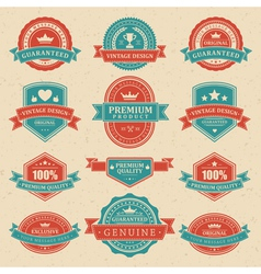 Vintage labels and ribbons vector image