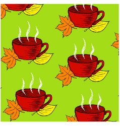 background pattern with red cup and leaves vector image vector image