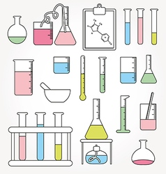 Chemical test tubes icons line vector image