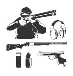 elements for shooting club retro labels vector image vector image