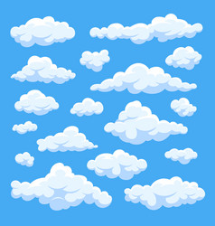 Fluffy white cartoon clouds in blue sky set vector