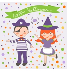Happy Halloween kids couple vector image vector image