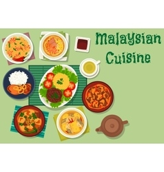 Malaysian cuisine icon with meat seafood dishes vector image