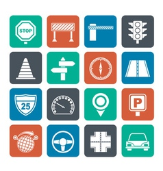 Silhouette Road and Traffic Icons vector image vector image
