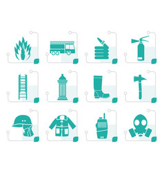 stylized fire-brigade and fireman equipment icon vector image