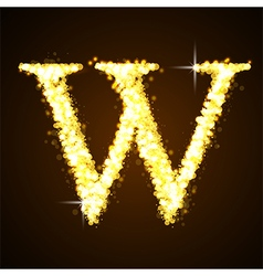 Alphabets W of gold glittering stars vector image vector image
