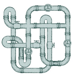 Maze of metal pipes vector image