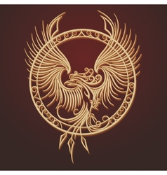 Phoenix Emblem in Circle vector image vector image