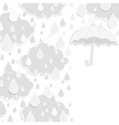 Rainy season background with raindrops and clouds vector image vector image