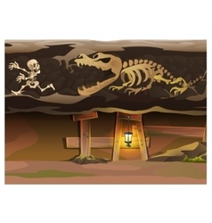 Underground with human and animal skeleton vector image vector image