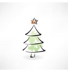 Christmas tree grunge icon vector image