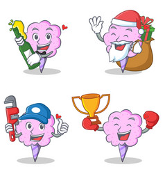 Cotton candy character set with beer gift plumber vector