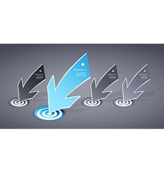 Four colored blue and grey paper arrows on dark vector image
